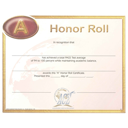"""Honor Roll Certificate """"A"""" (Package of 10)"""